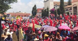Foto 2 militantes de CIOAC en Chiapas exigiendo esclarecimiento de asesinato de dirigente estatal 230517