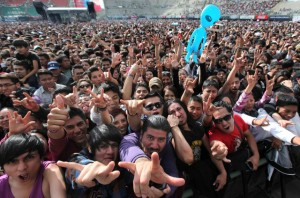 Music fans cheer at the 16th edition of the Vive Latino MusicFestival in Mexico City, Saturday, March 14, 2015. (AP Photo/Marco Ugarte)